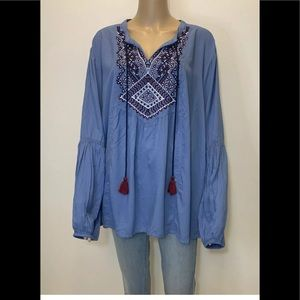 St Jonhs Bay  XL Rayon Embroidered Lace Blue